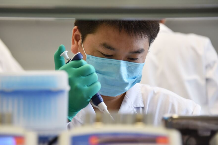"A technician works in a lab at GeseDNA Technology in Beijing. To counter China, the U.S. plans to impose new export restrictions on ""emerging and foundational technology"" that researchers say could affect the way they share genetic materials with international labs."