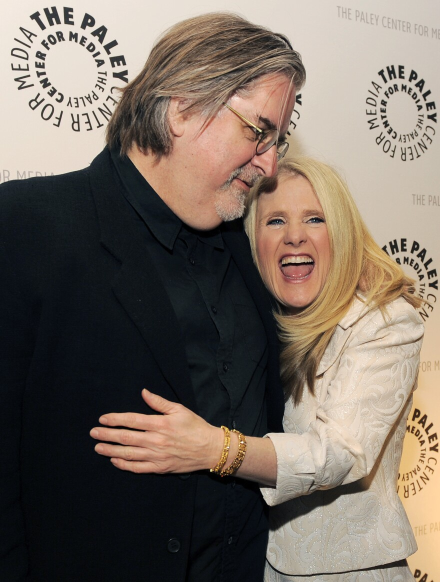 Nancy Cartwright with <em>The Simpsons</em> creator Matt Groening. When Cartwright auditioned for the voice of Bart Simpson, Groening hired her on the spot.