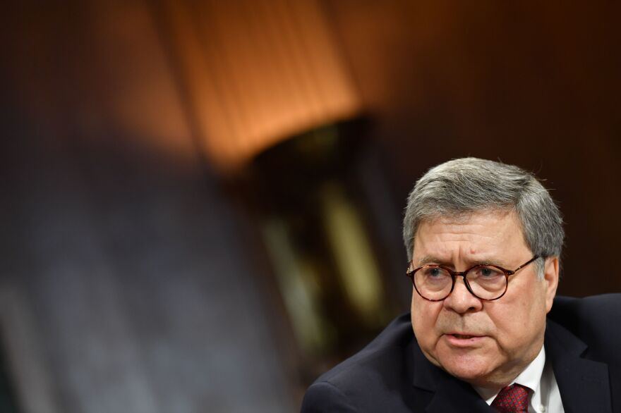 U.S. Attorney General William Barr testifies before the Senate Judiciary Committee on Capitol Hill on May 1. The House Judiciary Committee voted Wednesday to hold him in contempt of Congress, pushing the resolution to the full House.