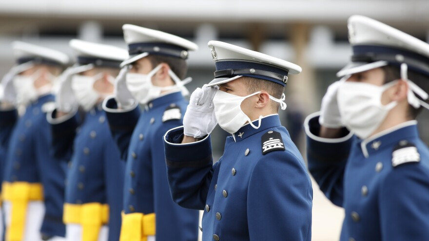 Cadets wear face masks during the graduation ceremony for the class of 2020 at the U.S. Air Force Academy on Saturday.