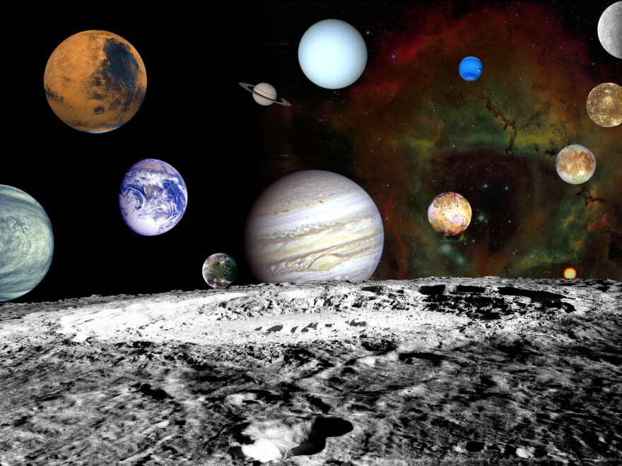 A montage of images taken by the Voyager spacecraft of the planets and four of Jupiter's moons, set against a false-color Rosette Nebula with Earth's moon in the foreground.