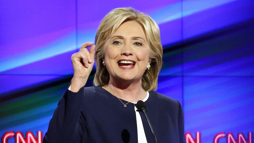 Hillary Clinton during the first Democratic debate in Las Vegas. She needed a standout performance, and she delivered.