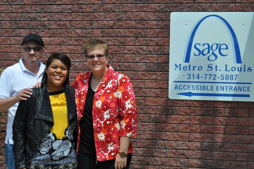 SAGE coordinator Eugene Potchen-Webb (left), volunteer Clarissa Jackson (center) and executive director Sherrill Wayland (right) stand outside SAGE's current offices at 4168 Juniata St. in Tower Grove.