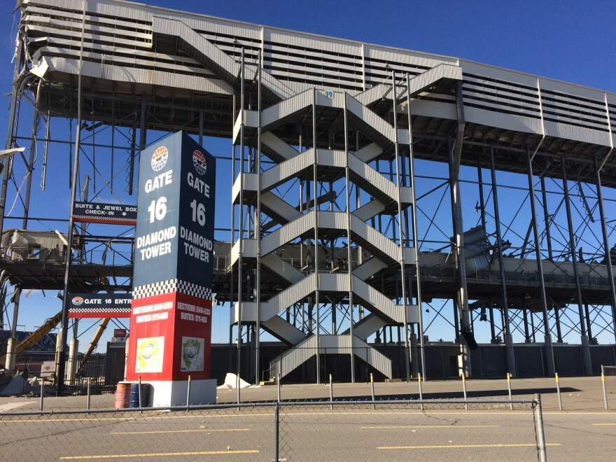 Construction crews are tearing down 41,000 seats at the Charlotte Motor Speedway.