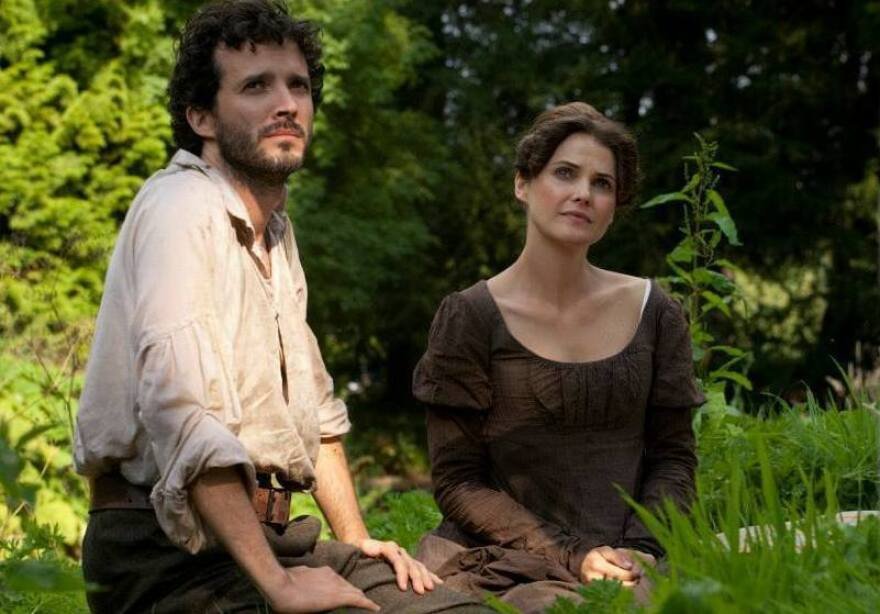 Keri Russell plays Austen fanatic Jane Hayes and Bret McKenzie plays a theme-park stable hand named Martin in <em>Austenland.</em>
