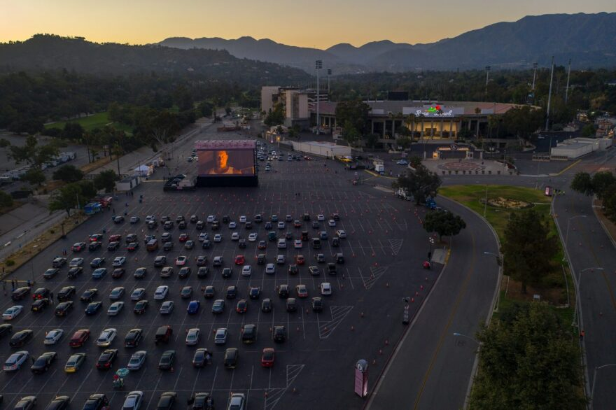 An aerial drone view shows a temporary drive-in movie theater at the Rose Bowl stadium in Pasadena, California.