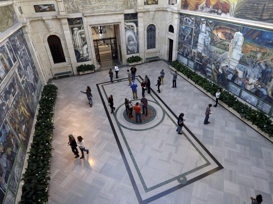 The murals by Diego Rivera and other works at the Detroit Institute of Arts would be safe from creditors under the plan before a bankruptcy judge Tuesday.