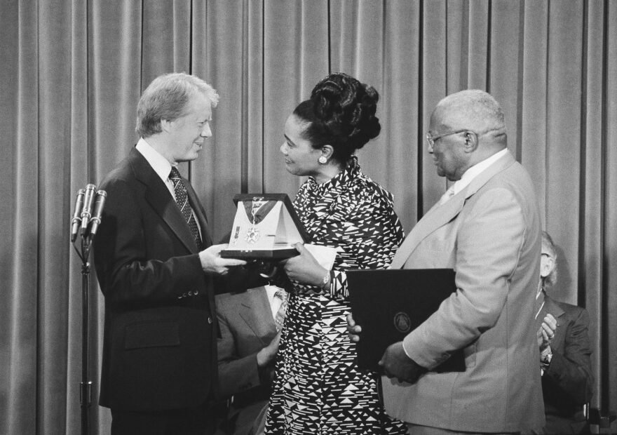 President Jimmy Carter, left, presents the Medal of Freedom Award to Mrs. Coretta King, wife of the late Dr. Martin Luther King, during a ceremony at the White House Iin Washington on, July 11, 1977. (AP)