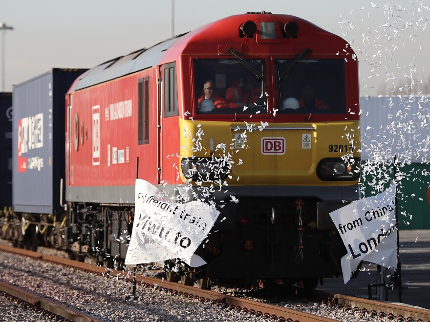 The train, which began its journey in Yiwu, China, pulls into a rail freight terminal on Wednesday in London, after traveling for 16 days — across about 7,456 miles and nine countries.