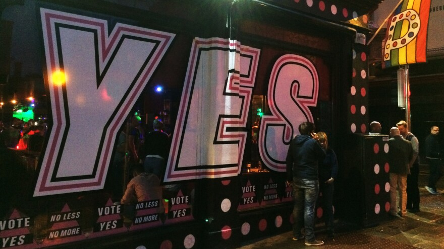 The banner at a gay nightclub in Dublin urges voters to support same-sex marriage in Ireland's referendum on Friday. Ireland could become the first country to legalize same-sex marriage at the ballot box. Elsewhere, it has been done by lawmakers or the courts.