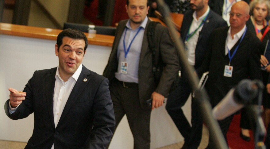 Greek Prime Minister Alexis Tsipras leaves an emergency summit of eurozone heads of state and government in Brussels on Tuesday.