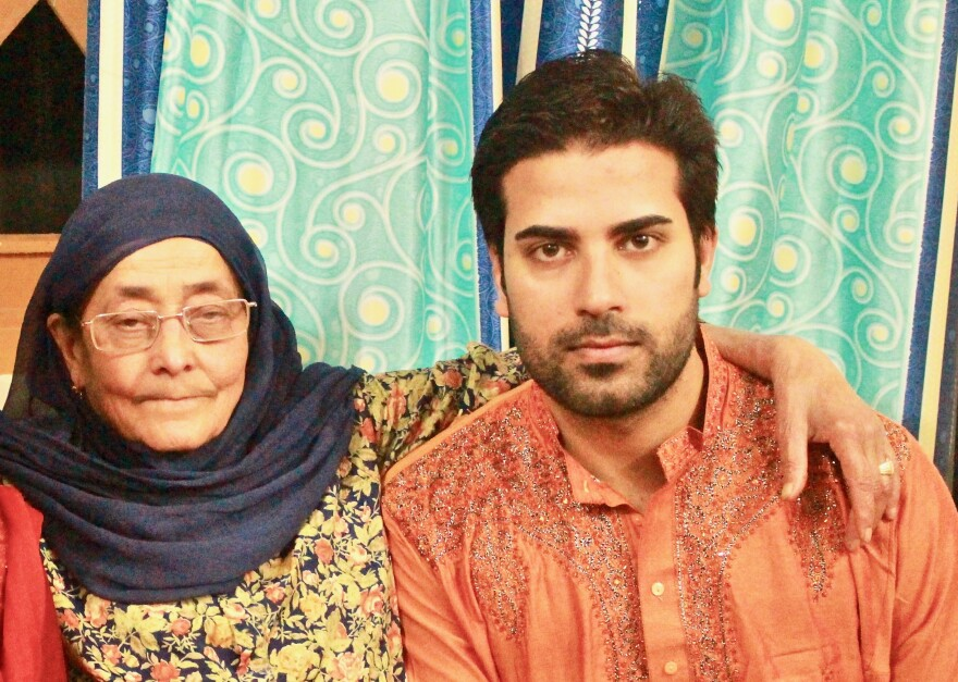 Junaid Nabi and his grandmother, Biba Razzak, in Kashmir.