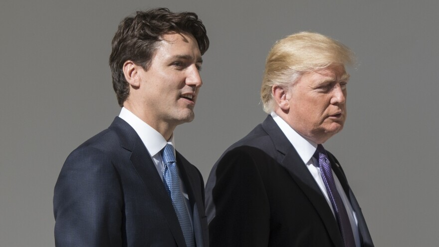 President Trump and Canadian Prime Minister Justin Trudeau walk down the West Wing Colonnade between meetings at the White House Monday.