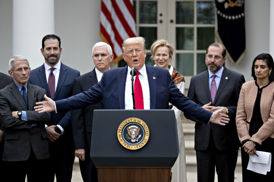 President Trump speaks during the March 13 news conference. In addition to declaring a national emergency, the president also proposed several policy changes, such as waiving interest on federal student loans.