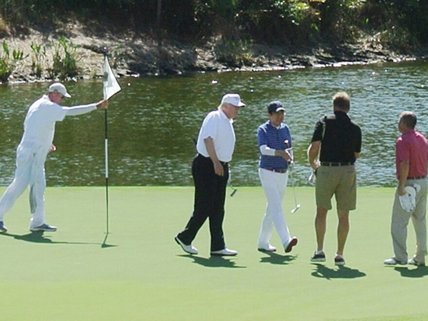 President Trump and Japan's Prime Minister Shinzo Abe played golf in Florida in February.