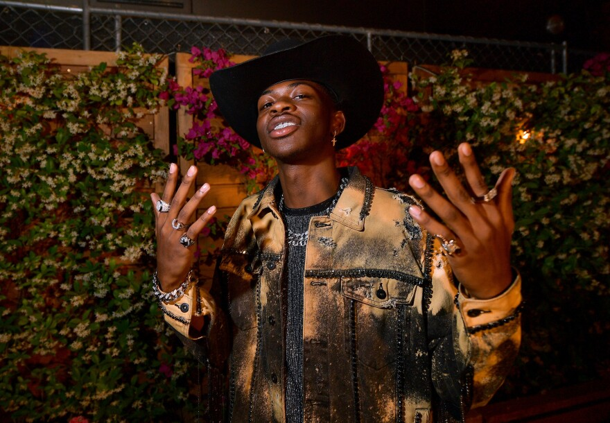 Lil Nas X in April, posing backstage during the 2019 Stagecoach Festival in Indio, Calif.