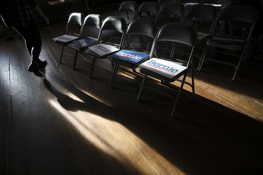 People file in for a Bernie Sanders campaign event held in Newport, N.H., last year.