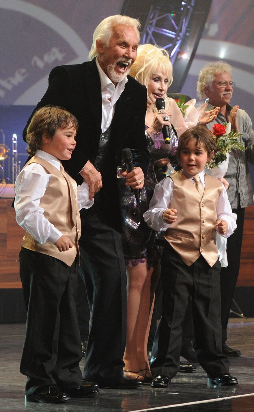Kenny Rogers, Dolly Parton and Rogers's twin boys perform at the MGM Grand at Foxwoods in Ledyard Center, Conn., in 2010.