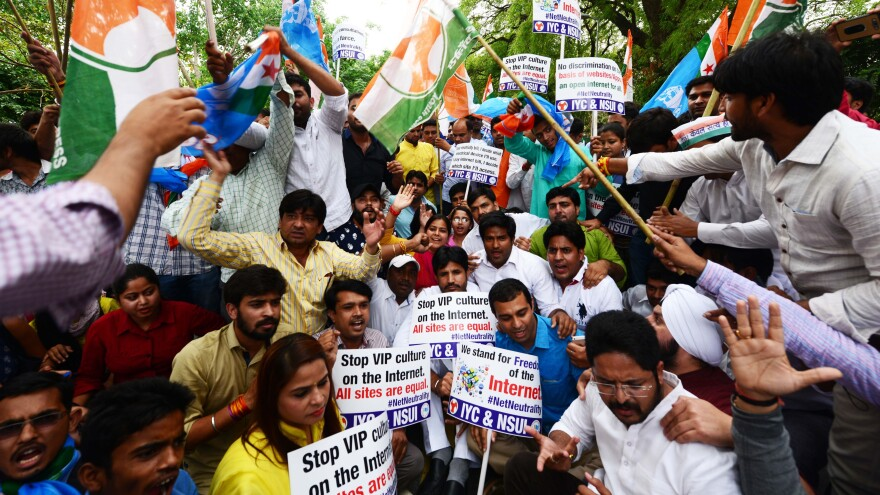 Members of Indian Youth Congress — a wing of the National Congress party — and National Students Union of India protest for Internet freedom in April 2015 in New Delhi.