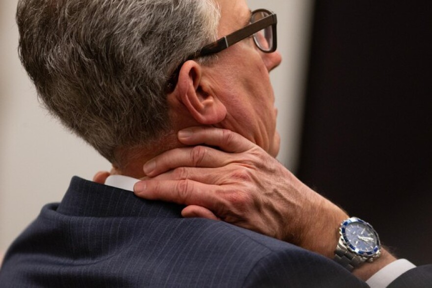 <p>Prosecutor Don Rees rubs his neck during testimony at the Multnomah County Courthouse on Feb. 13, 2020, day 11 in the trial of Jeremy Christian for the stabbing of three people on a MAX train in Portland in May 2017.</p>