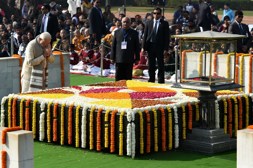 Indian Prime Minister Narendra Modi pays homage at Raj Ghat, the memorial for Gandhi in New Delhi, on Martyr's Day on Jan. 30, 2018, to mark the 70th anniversary of Gandhi's assassination.