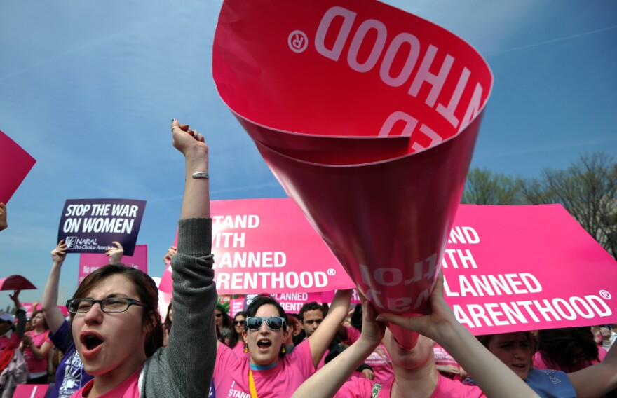 Participants gathered on the National Mall in Washington, D.C., on April 7 for a rally in support of Planned Parenthood.