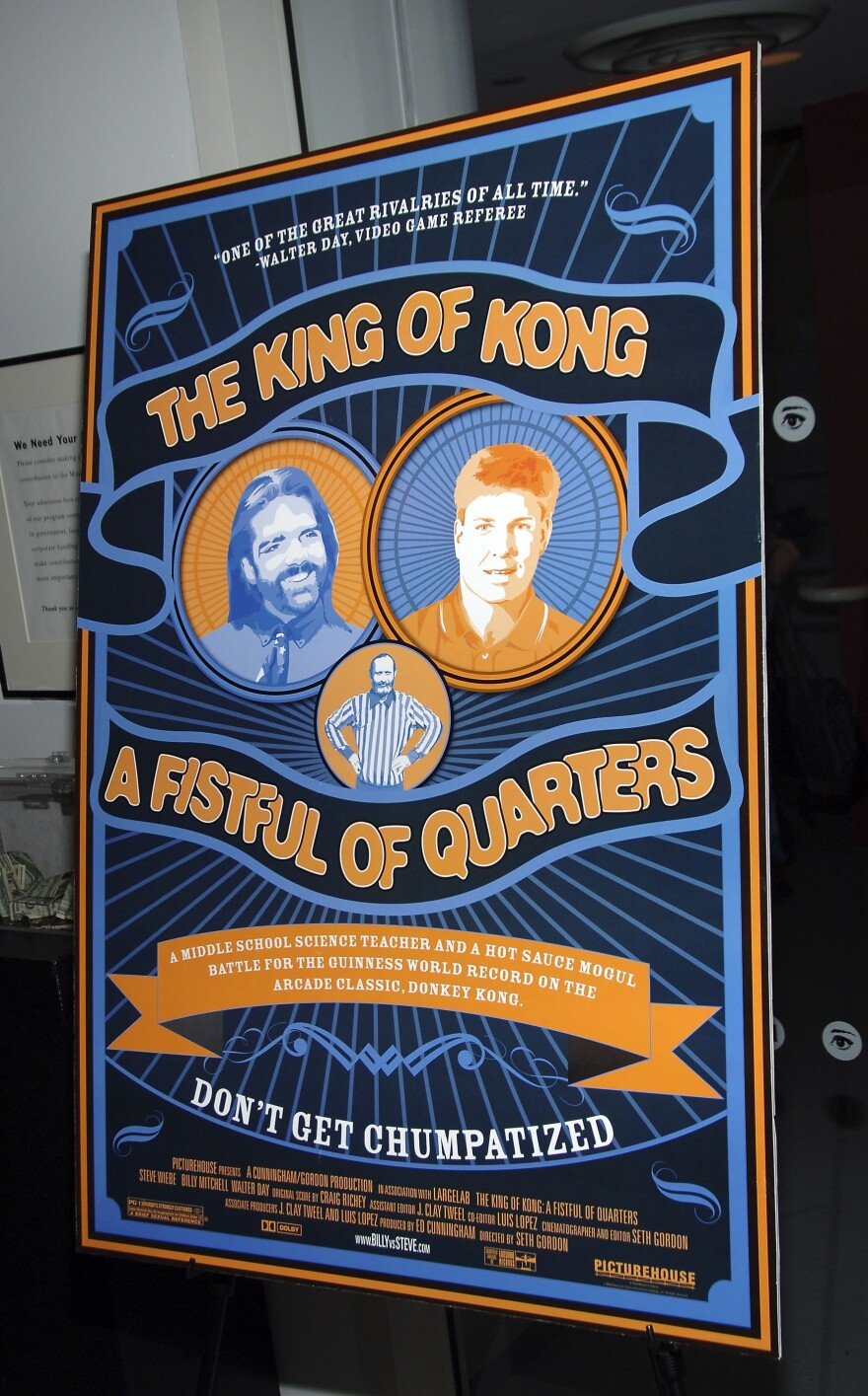 A film poster for <em>The King of Kong </em>stands at the documentary's 2007 premiere in New York City.