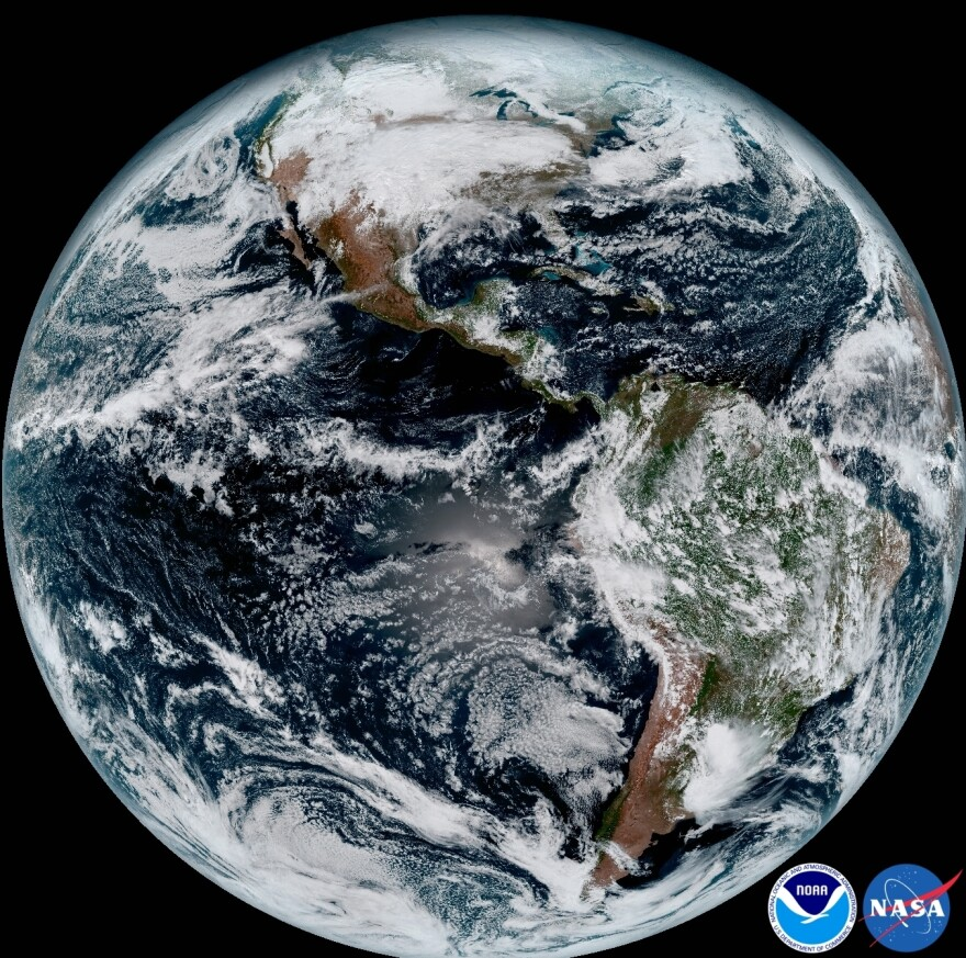 A composite image of Earth taken at 1:07 p.m. ET on Jan. 15 by the GOES-16 satellite.