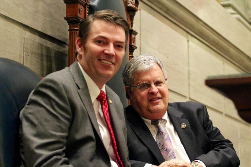 House Speaker Todd Richardson and Senate President Pro Tem Ron Richard spent time talking in the Senate chamber on Wednesday.
