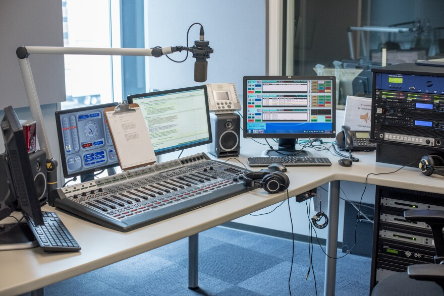 The air control studio at St. Louis Public Radio