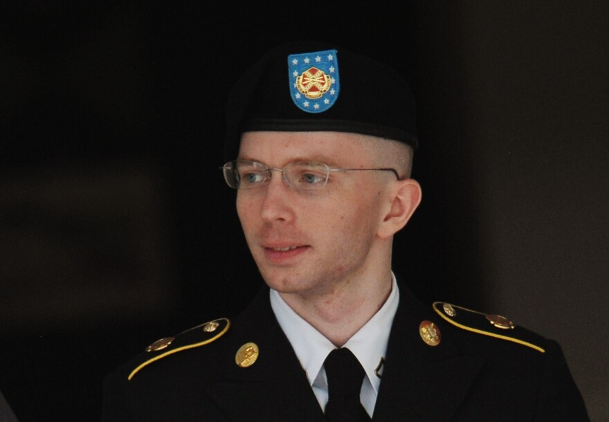 Army Pfc. Bradley Manning is escorted from court on Thursday in Fort Meade, Maryland.