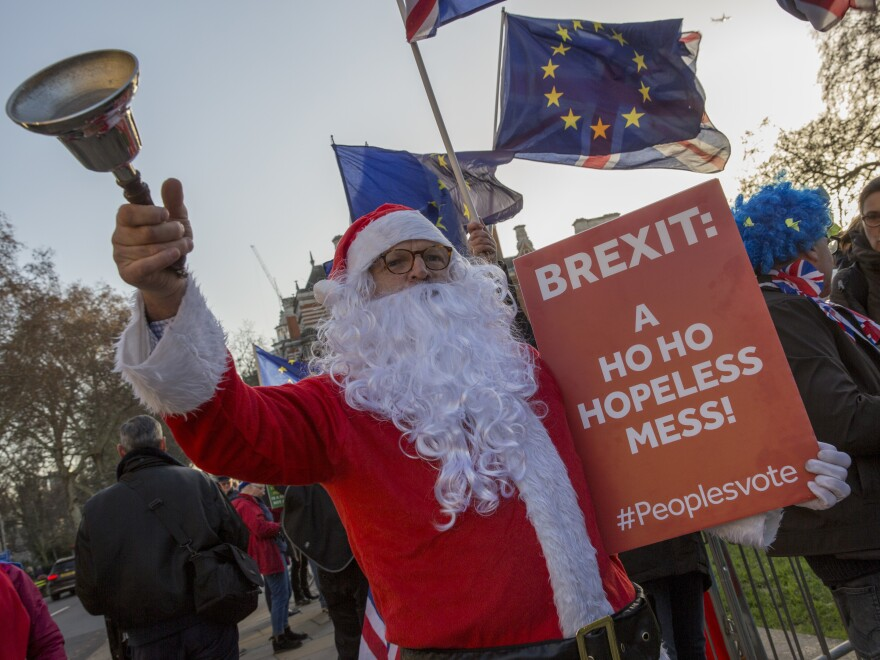 Anti-Brexit activists protest outside Parliament Dec. 11.