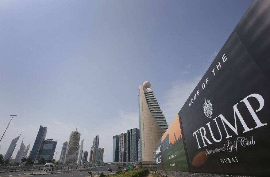 A giant billboard advertising the Trump International Golf Club hangs at the Dubai Trade Center roundabout, in Dubai, United Arab Emirates, Saturday, Feb. 18, 2017. (Kamran Jebreili/AP)