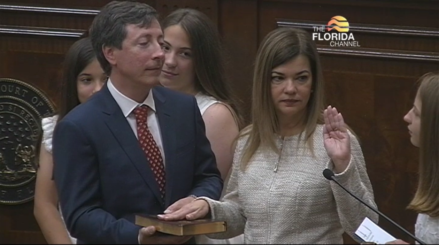 Justice Barbara Lagoa is sworn into the Florida Supreme Court on May 5th, 2019. Now a judge on the United States Court of Appeals for the Eleventh Circuit, Lagoa is said to be on President Trump's short list as a candidate to fill the US Supreme Court vacancy left by Justice Ruth Bader Ginsburg. Image: The Florida Channel