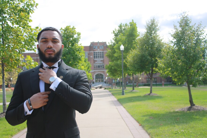 Brice Dean, a sophomore at Harris-Stowe State University, seen here on campus in 2020.