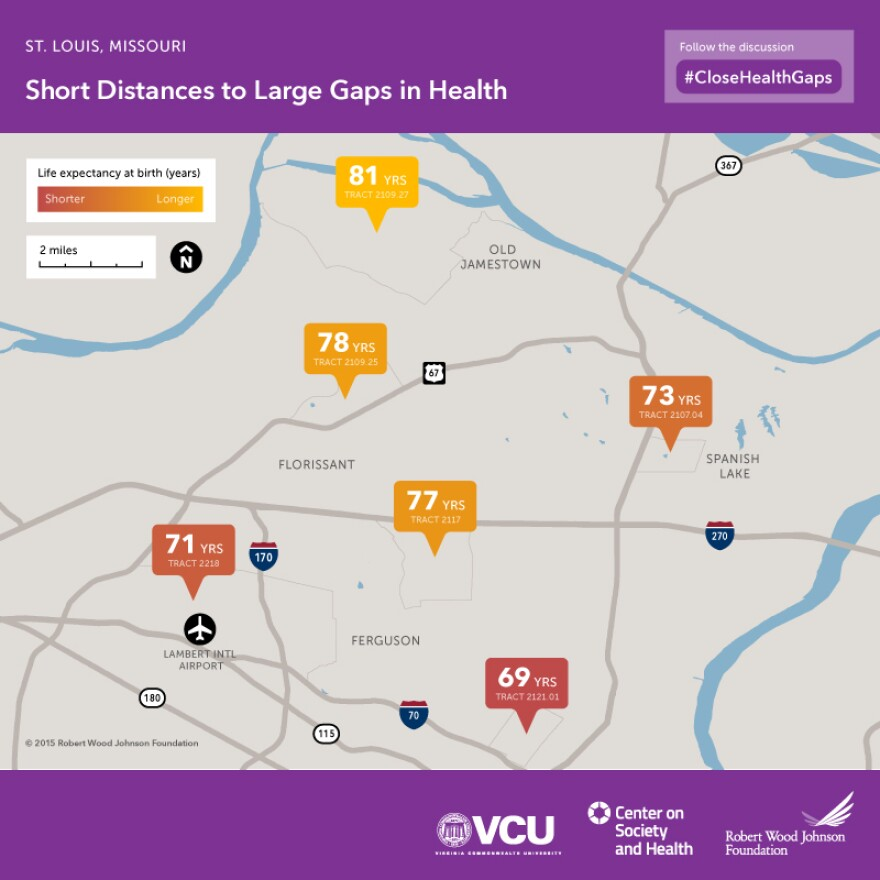 Virginia Commonwealth University mapped severe health disparities in north St. Louis County by comparing census tract-level data for life expectancy.