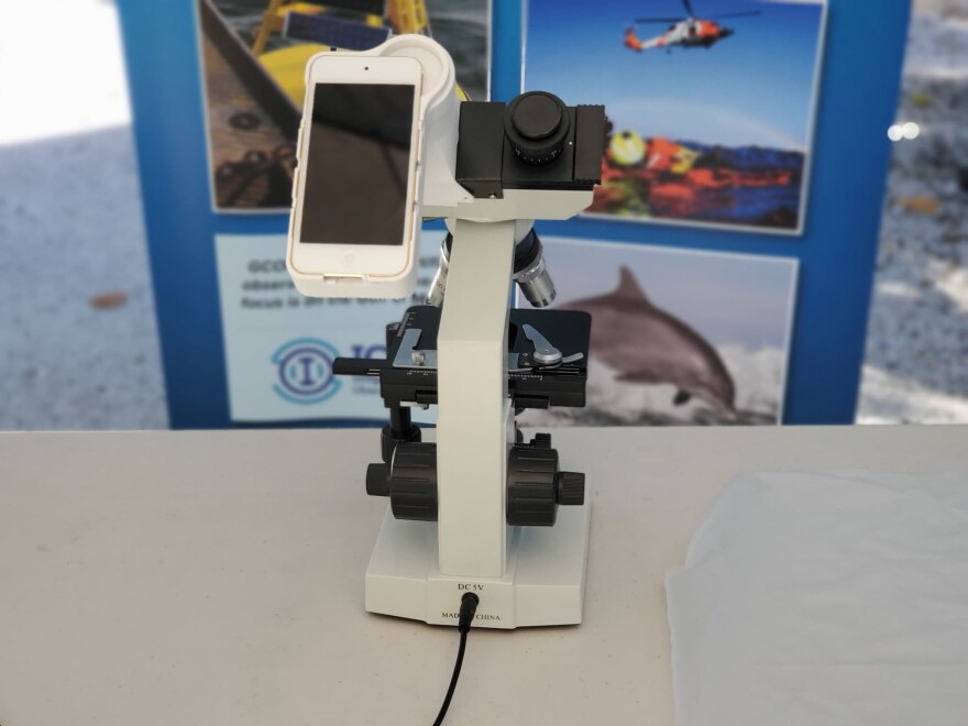 The HABscope combines the functionality of a laboratory classroom style microscope with a 3D printed adapter to mount an Apple iPod touch to send data directly to GCOOS software for analysis of red tide concentrations