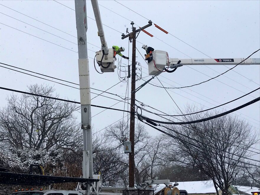CPS Energy crews repair equipment damage after three days of controlled blackouts February 18, 2021.