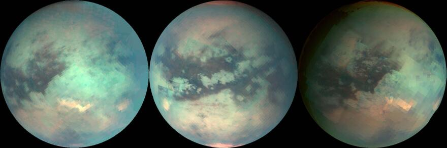 The NASA space probe Cassini used infrared light to peer through Titan's hazy atmosphere and take rough measurements of its surface.