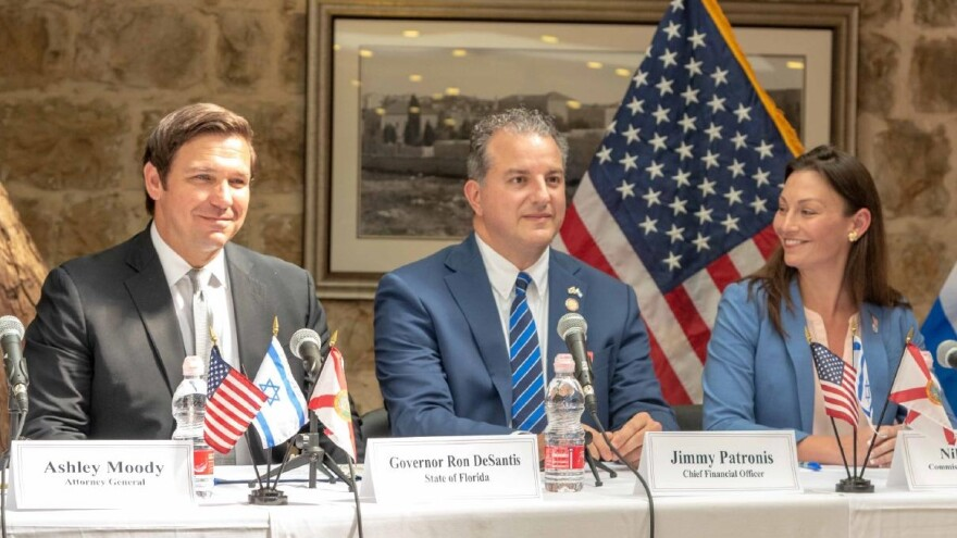 Gov. Ron DeSantis (left) is pictured in Jerusalem with Chief Financial Officer Jimmy Patronis and Commissioner of Agriculture Nikki Fried