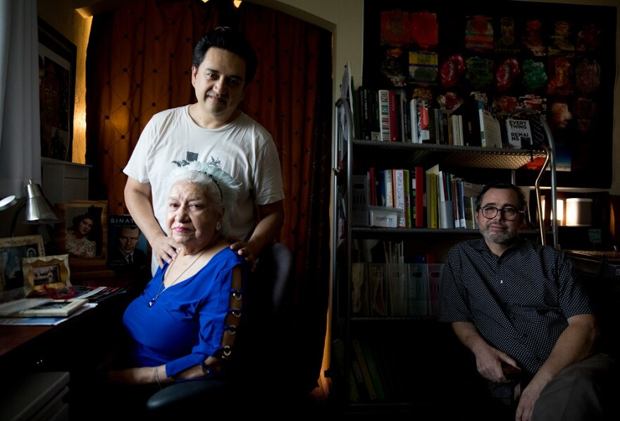 Tech Guerrero, his husband Michael Street and Guerrero's mother, Maria Luisa Castillo Rocha.