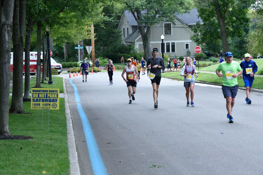 A photo of Akron Marathon runners