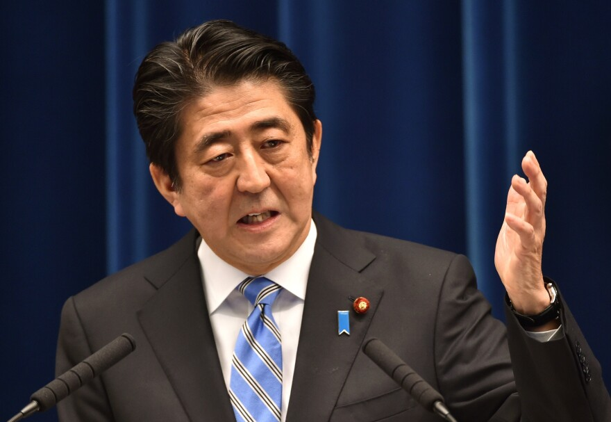 Japan's Prime Minister Shinzo Abe speaks during a press conference Tuesday at his official residence in Tokyo.