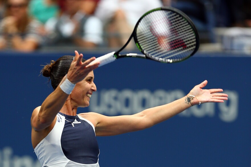 Flavia Pennetta celebrates after defeating Roberta Vinci in the women's singles final at the U.S. Open on Saturday.