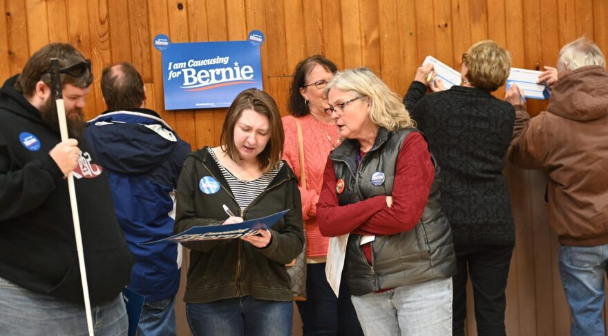 Supporters of Democratic presidential candidate, Sen. Bernie Sanders (I-VT) were calculated as viable on February 3, 2020 at a caucus site in Carpenter, Iowa.