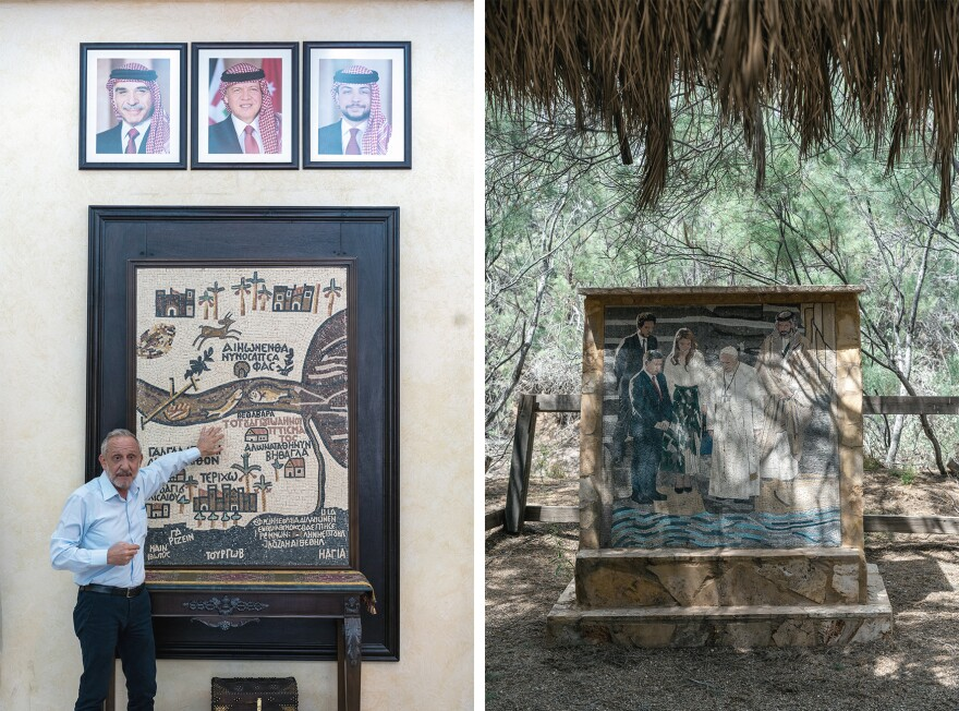 Left: Director General of the Baptism Site Commission Rustom Mkhjian points out a replica of the Madaba mosaic map — the earliest known depiction of a Holy Land map. It shows the baptism site on the east side of the Jordan River in what is now Jordan. Right: A modern mosaic depicting the visit of Pope Francis to the baptism site in 2016 accompanied by members of Jordan's royal family.