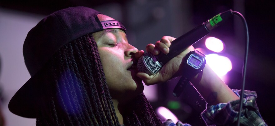 Megz Kelli of hip-hop group Magna Carda performs at Empire Control Room during Ditch the Fest Music Festival.