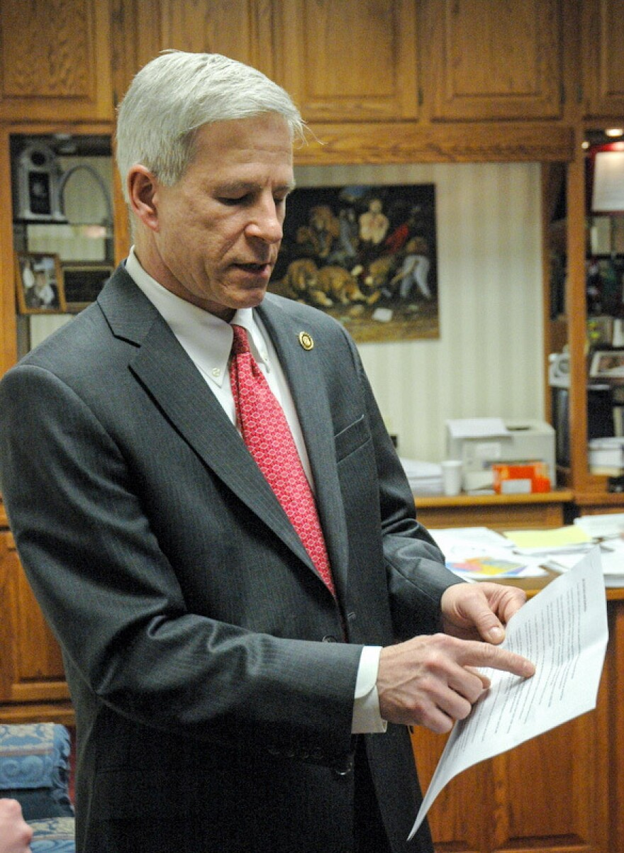 State Sen. Rob Schaaf points to evidence in support of his opposition to the database bill in his office at the Missouri State Capitol. He said the bill interfered with the right to medical privacy.