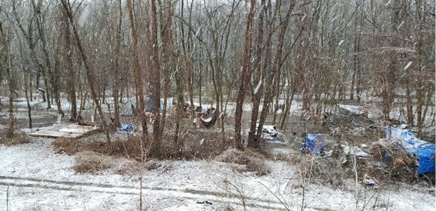 An encampment near the Coal River in the winter of 2019 in Kanawha County, W.Va.