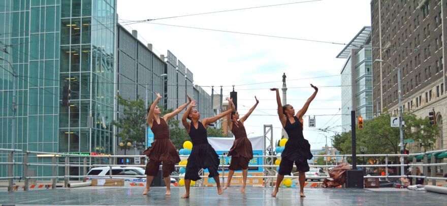 DCDC dancers perform in the heart of downtown Dayton.